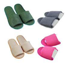 Solid Color Simple Slippers Men Women Hotel Travel Spa Portable Folding House Slides Disposable Home Indoor Slippers Shoes(China)