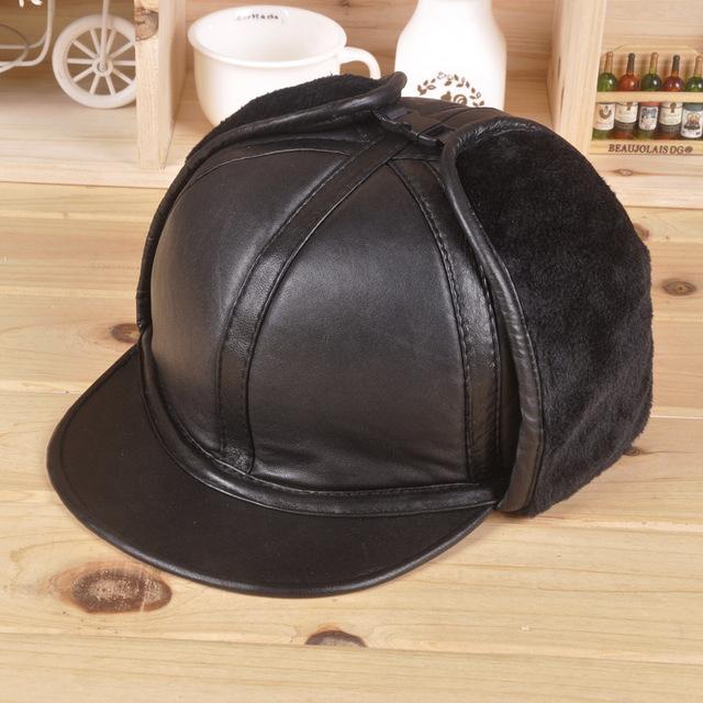 Mais grossa de veludo chapéu morno do inverno 100% da pele de carneiro de Couro de couro imitação de vison cabelo cap ouvido boné de beisebol dos homens de pele de ovelha óssea