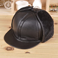 Plus thick velvet Leather hat warm winter 100% sheepskin leather baseball cap men sheep skin imitation mink hair ear cap bone