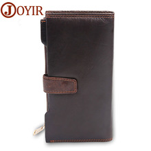 цена на Hot Sale Genuine Cowhide leather High Quality Men Long Wallet Coin Purse Vintage Designer Male Carteira Wallets, Free Sihipping