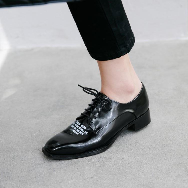 Shiny Black Leather Oxfords Square Toe
