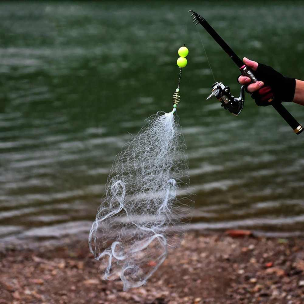 Portable Fishing Net Trap Luminous Bead Copper Spring Shoal Netting Fishnet Tackle No Need Hook Fishing Fish Tool