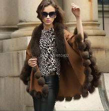 free shipping/Lady's Genuine Fox collar  and  Real Cashmere  Coat Cloak Poncho/shawl//cape/Wraps/ brown
