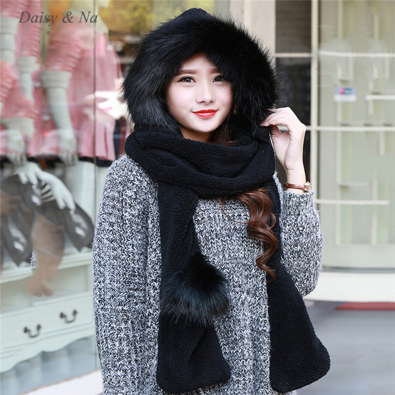 Women Hat Winter Soft With Long Scarf Mittens Ski Attached Gloves Faux Fur  Hood 061-in Skullies   Beanies from Apparel Accessories on Aliexpress.com  ... 1484efb34f87