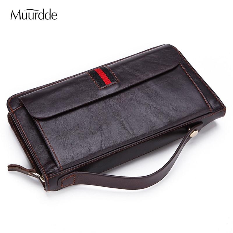 Genuine Leather Men Vintage Design Wallets Male Business Zipper Clutch Bag Men's Purse Man Card Holder Wallet Handbag Wrist Bags