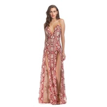 Women Vestidos Red Sexy Backless Floral Sequin V-neck Strapless Sling Cross Split Long Dress Evening Party Night Club Dresses