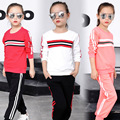 2017 Kid girl long sleeve striped letter M two suit 2017 children comfortable and soft clothing set