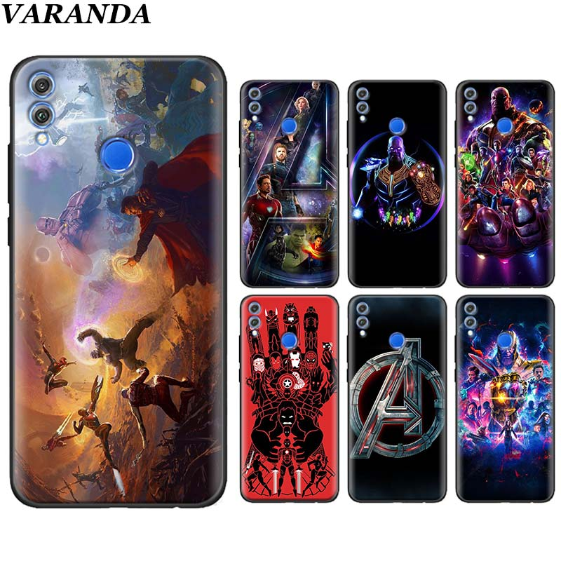 The <font><b>Marvel</b></font> Avengers Silicone <font><b>Cases</b></font> for <font><b>Huawei</b></font> Honor 10 20 Lite 20 Pro Y6 <font><b>Y7</b></font> Y9 <font><b>2019</b></font> 8X 8A 8C 8S Black Soft <font><b>Case</b></font> image