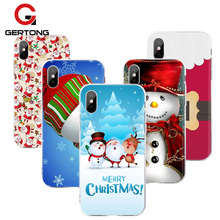 Фотография GerTong Christmas Santa Claus Phone Case For iPhone 8 Plus X 6 6S 7 7Plus Pattern Cover Cases Cute Cartoon Protective Fundas