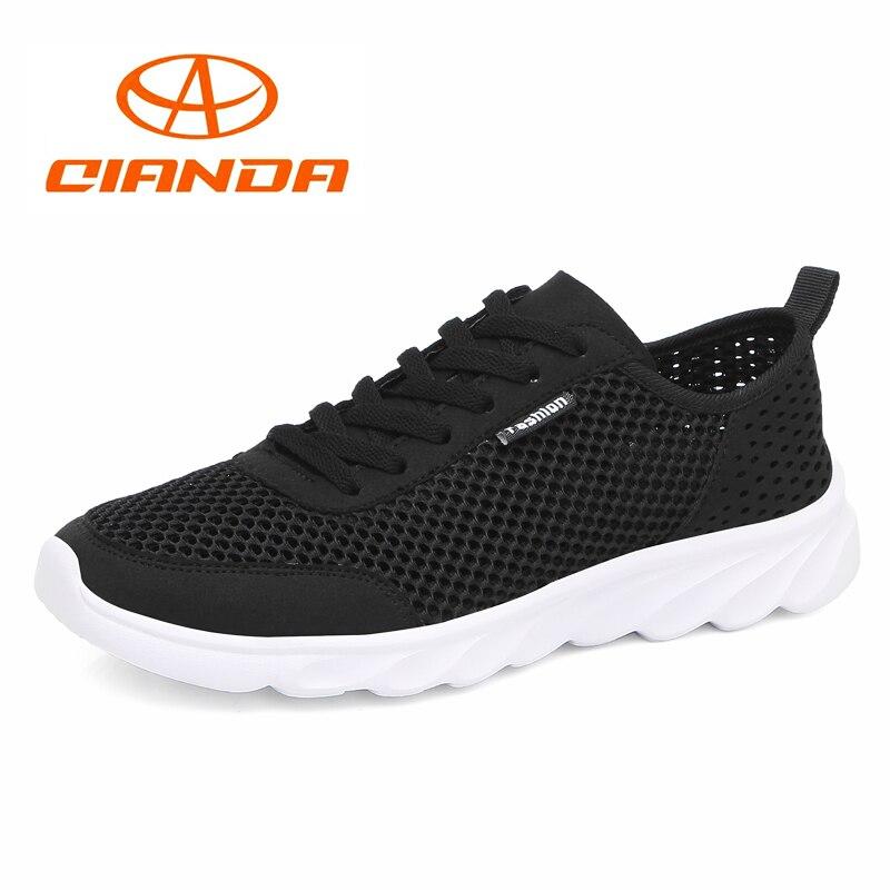 QIANDA Cushioning Running Shoes Men Marathon Light Breathable Mesh Fabric Man Sneakers Lace-up Comfortable Outdoors Sport Shoe