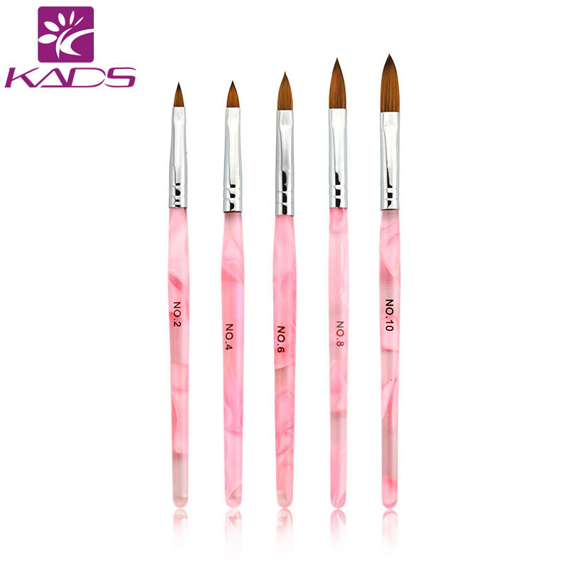 KADS 5pcs Nail Brush Set 2#/4#/6#/8#/10# Acrylic Nail Art Brush Design Nail Art Painting Brush Kolinsky Brush 15 in 1 makeup art design painting nail brush pens set deep pink silver