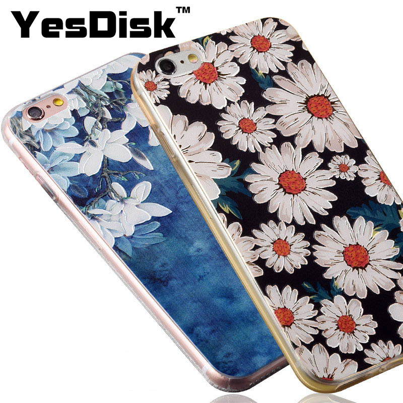 Floral Patterned For iPhone 7 Case Relief Floral TPU Smart Phone Casing suit for iphone6/6s/8/8 plus/6plus/6s plus Cute Gift