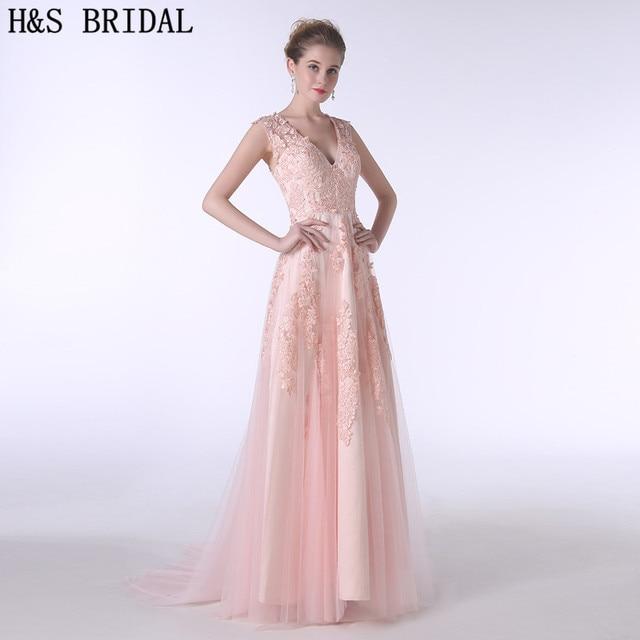 0c350035596 H S BRIDAL V Neck Champagne Lace Applique formal evening gowns dresses  Tulle evening dresses long 2017