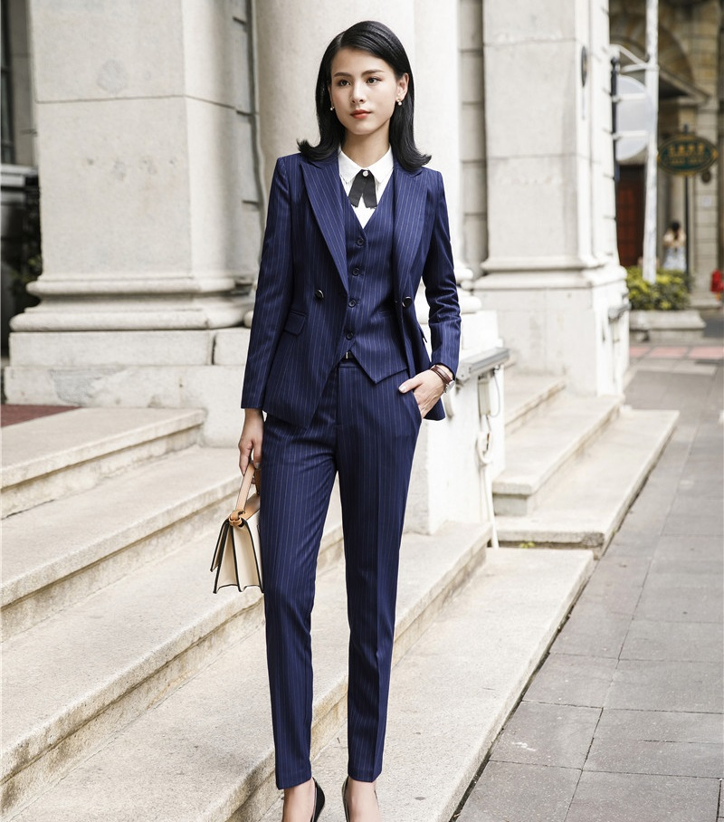 High Quality Fabric Women Business Suits 3 Piece Sets Pants And Jackets Coat And Vest For Ladies Office Work Wear Pants Suits
