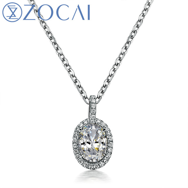 ZOCAI  Oval Cut 0.6 CT Certified D-E / SI Diamond 18K White Gold Pendant with 925 Silver Chain Necklace D03815