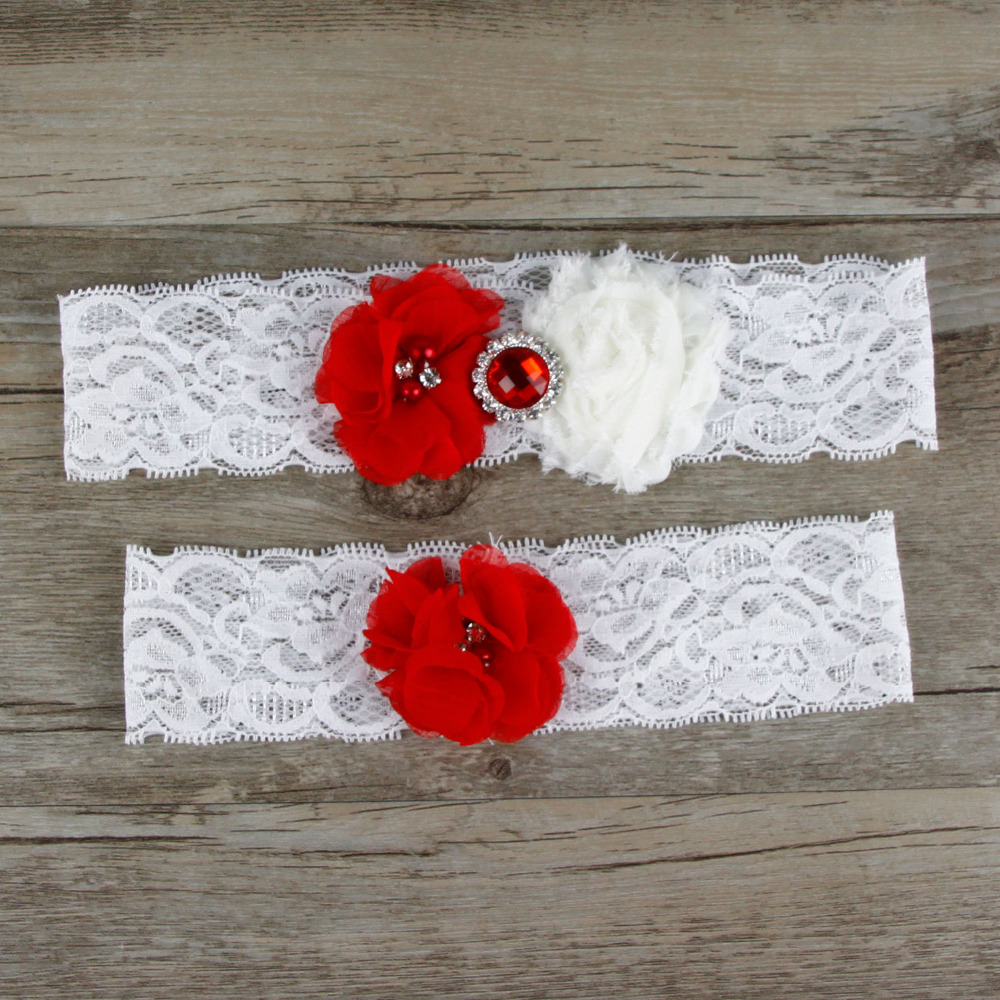 Red Wedding Garters: 1 Pair Red Wedding Garter Lace Garter Set Bridal Garter