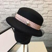 Elegant Women Round Bowler Cap Mixed Colors Wool Pearl Fedoras Cotton Church Cloche Bucket Veil Hat Vintage Brim Chapeu Feminino