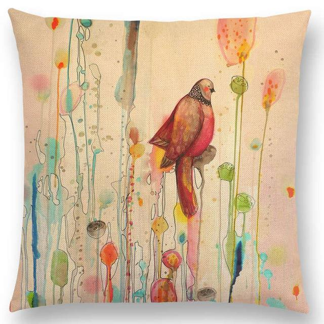 Newest American Style Hand Draw Watercolor Little Birds Pillowcase Floral Home Decor Cushion Cover 25 Designs Available Cushion Cover Designer Cushion Coversdecorative Cushion Covers Aliexpress