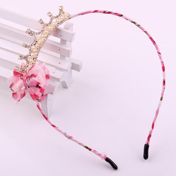 Модная корона аксессуары для волос для девочек цветочный принт шифон Лента Узел жемчуг кристалл клип Стразы Диадемы для волос бант для волос - Цвет: Pink