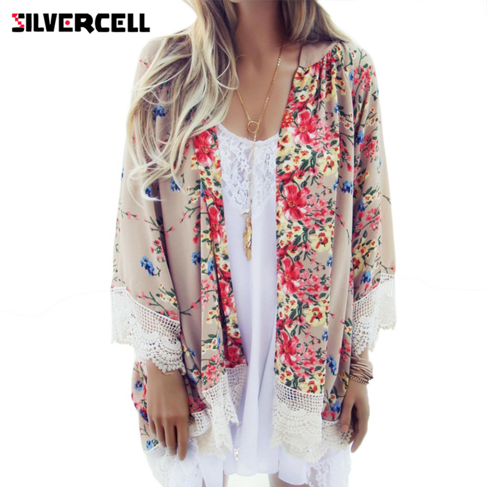 SILVERCELL Women Vintage Floral Loose Shawl Kimono Cardigan Boho ...