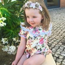 Summer Newborn Bodysuit Baby Girls Floral Print Ruffled Collar Short Sleeve Jumpsuit Toddler Jumpsuit недорого