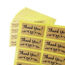 120pcs/lot Bow Pattern Thank You Self Adhesive Kraft Paper Stickers Scrapbook For Hand Made Gift Child Stationery Seal