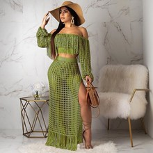 Women Summer Mesh Grid See Though Tassel Off Shoulder Two Piece Sets Crop Top Side Split Maxi Skirts 2 Piece Set women summer beach grid bohemian off shoulder tassel splicing top side split maxi skirt suit two piece set dress 4 color s3554