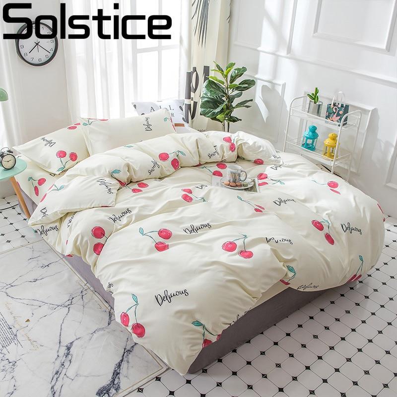 Solstice Home Textile Girl Kid Bedding Set Pink Cherry Beige Duvet Cover Flat Sheet Pillowcase Female Teen Bed Linens Bedclothes