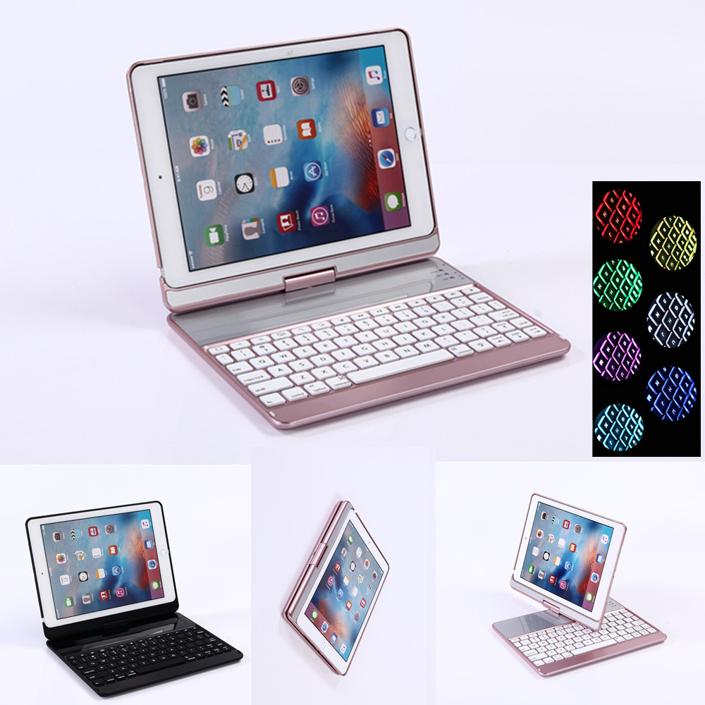 все цены на 360 Degree Plastic Bluetooth Keyboard Protective Case with Stand for iPad Air 1 2 Pro 9.7 New iPad 2018 2017 9.7inch