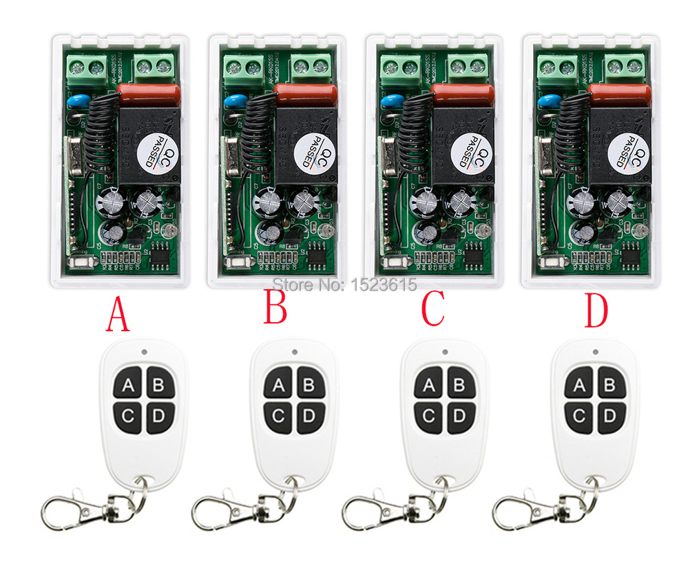 ФОТО most simple wiring New AC220V 1CH 1Channe RF wireless remote control switch System 4X Transmitter + 4X Receiver,315/433 MHZ