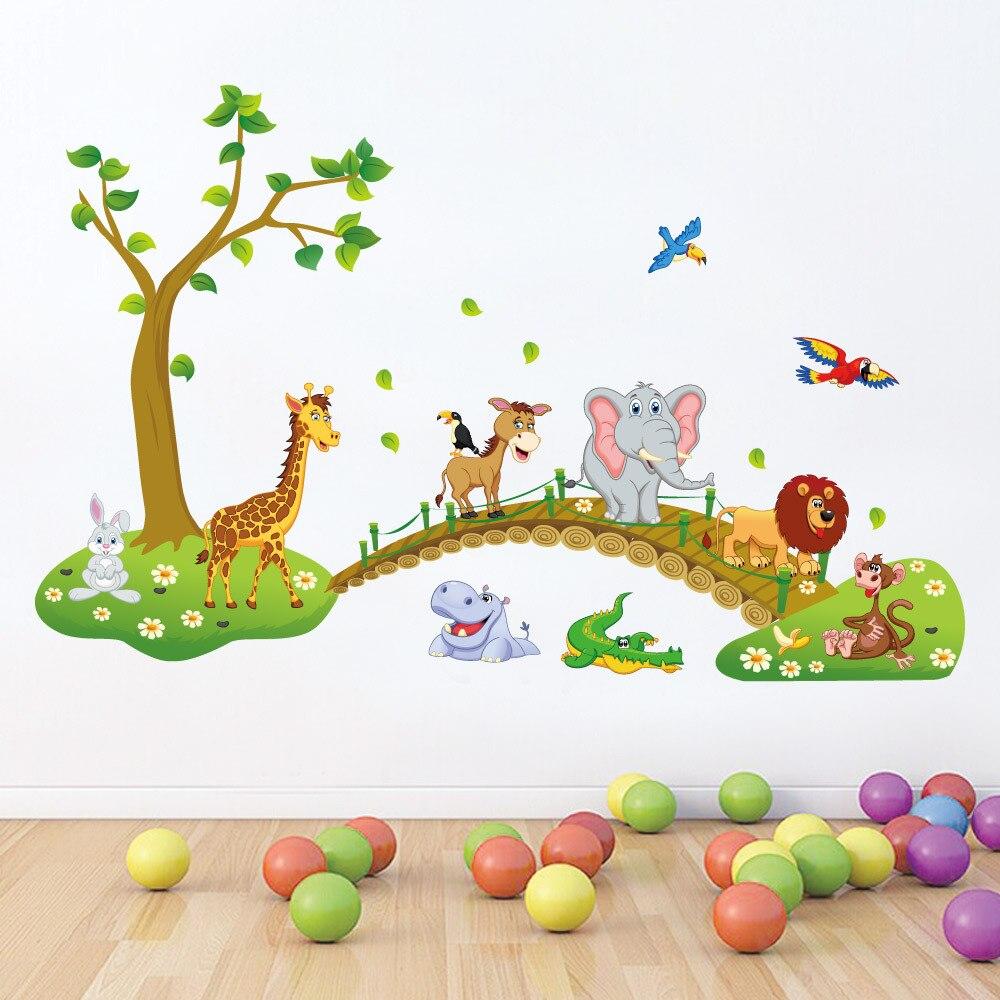 1pc Dibujos Animados En 3D De La Selva Salvaje /áRbol Animales Puente del Le/óN De La Jirafa Elefante Birds Flores Pegatinas De Pared Sala Infantil Sala Decoraci/óN