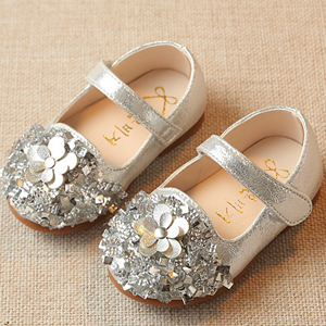 2018 NEW 0-2Y Girls Shoes Gold Flower Baby Walking Whoes Twinkle Sliver Toddler Shoes Fo ...