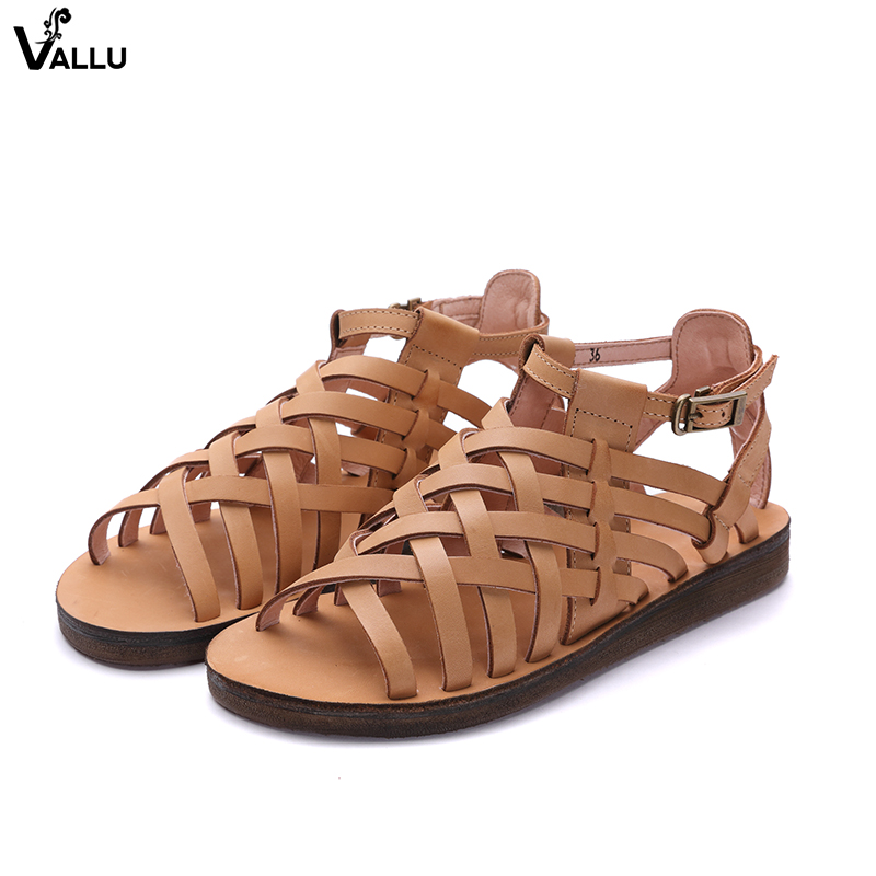 Brand Shoes Woman VALLU Cross Strap Sandals Lady European Fashion Genuine Leather Female Sandals Summer Sexy Ankle Strappy Shoes стоимость