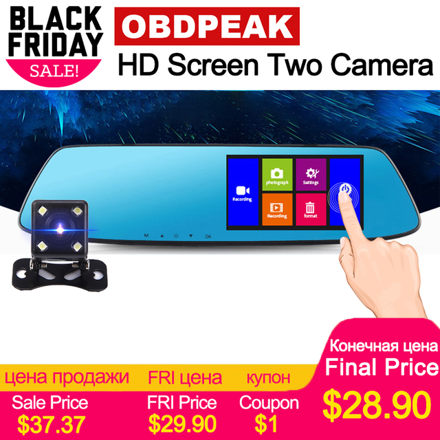 Car Dvr 4.3 inch Touch car rearview mirror 1080P Full IPS 1080p car driving video recorder camera car reverse image dual lens