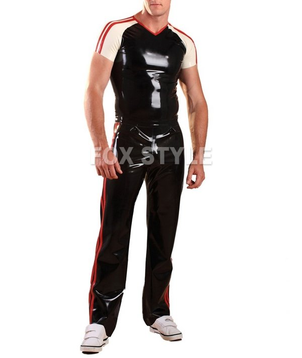 Latex Rubber Joggers - Red rubber garment latex trousers