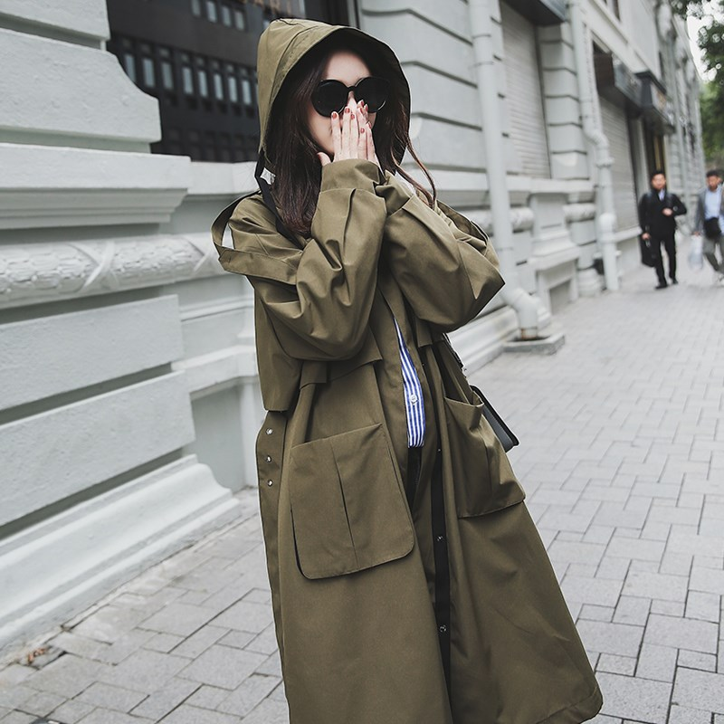 Brand new fashion   Trench   coat women Oversize Large pockets Chic long Coat Loose Windbreaker spring Autumn Outwear Korean clothes