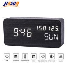 купить JINSUN Table Clock Sound Control Desktop Luminous Alarm Clock for Children Wooden Calendar Modern Adjustable Brightness онлайн