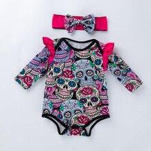 YK&Loving 2018 Halloween Brand New 0-24m Newborn Infant Baby Girls Clothes Sets Long Sleeve T - Shirt + Headband