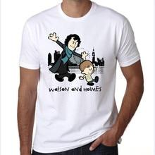 yiwuliming New fashion 2016 men's sherlock print t shirt men women character t-shirt brand hip hop short sleeve tshirt