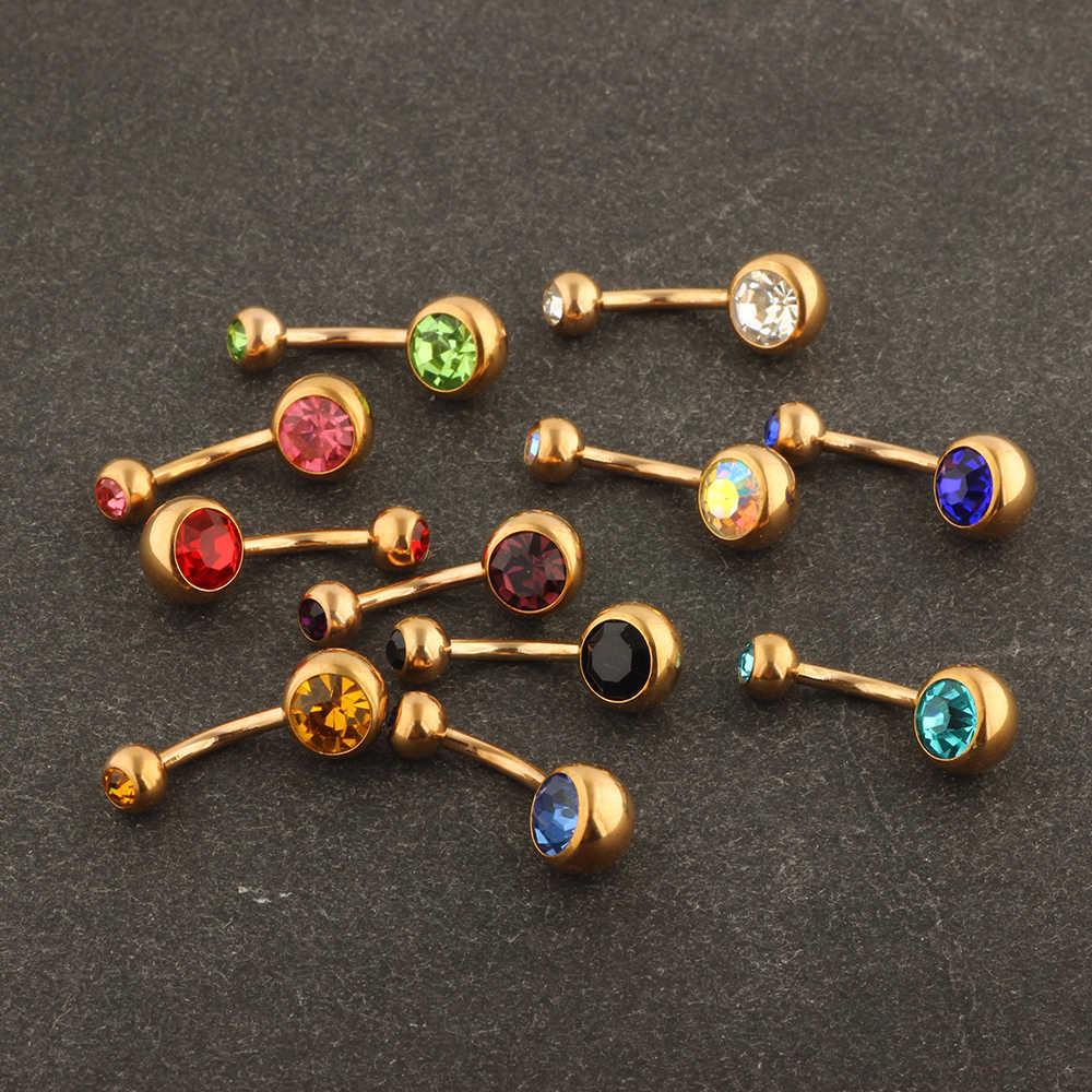JUNLOWPY różowe złoto 14G chirurgiczne stali nierdzewnej pierścionek podwójne Gem nawy kolczyki zakrzywione sztanga Body Piercing biżuteria 1 sztuk