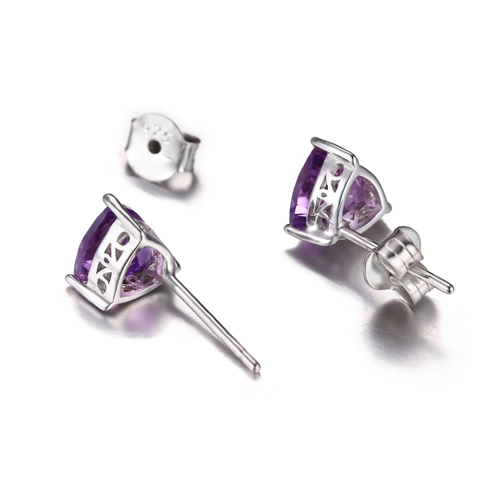 JewelryPalace Trillion 1.9ct Natural Purple Amethyst Birthstone Stud Earrings Solid 925 Sterling Silver mm2St7d3B