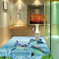 Free Shipping Custom beautiful ocean water flower dolphin blue sea bathroom kitchen decoration 3d wallpaper mural