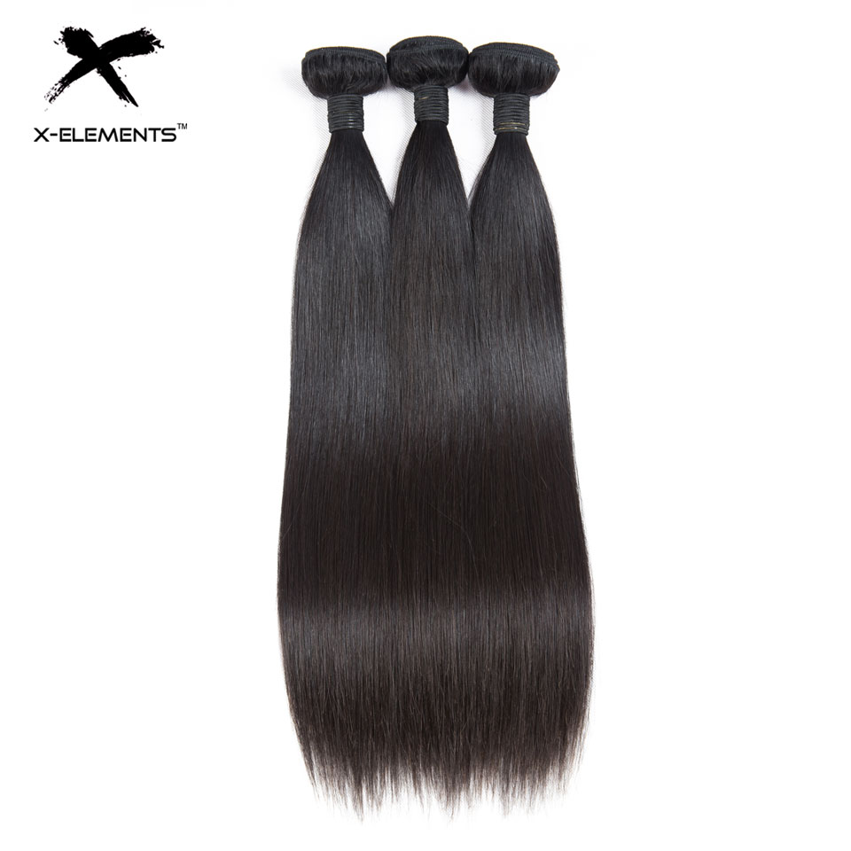 X Elements Hair Brazilian Straight Human Hair Bundles 3 4 Pcs Remy Hair Weaving Bundles Free