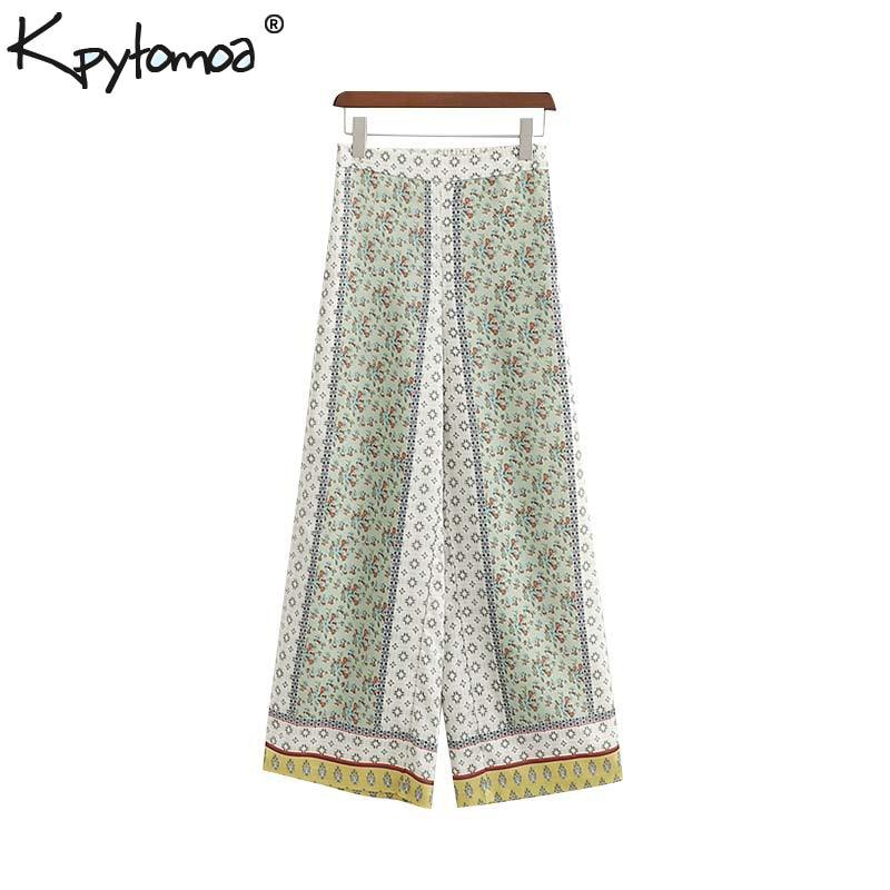 Vintage Flowy Floral Print   Wide     Leg     Pants   Women 2019 Fashion High Elastic Waist Side Zipper Chic Ankle Trousers Pantalones Femme