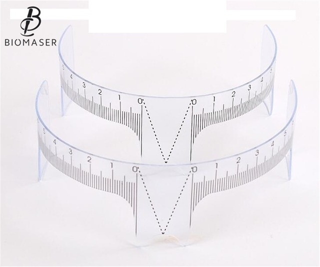 Biomaser Permanent Makeup Stencils Plastic Eyebrow Ruler Measure Tool Makeup Reusable Eyebrow Ruler Tool Measures 4