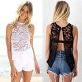 Sexy Backless Top de la Camisa Ocasional de la Playa de Las Mujeres 2015 de Encaje de Ganchillo Floral Hollow Blusas