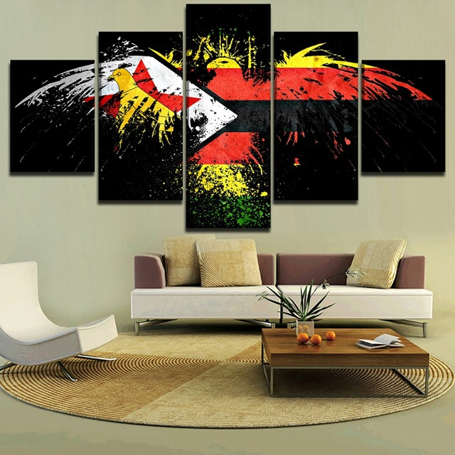 5 Pieces Zimbabwe Flag Abstract Eagle Pictures Wall Art Decor