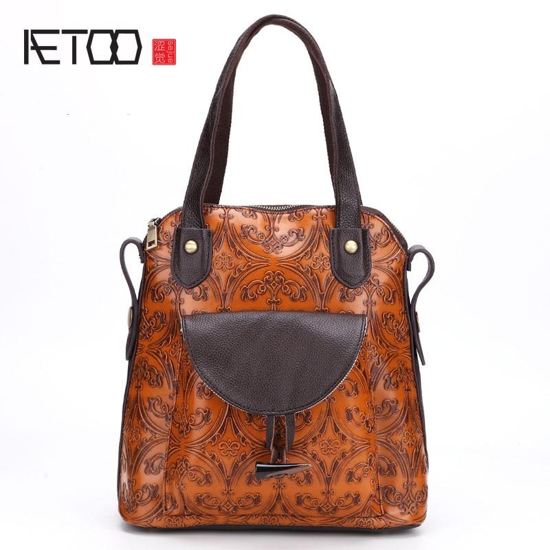 AETOO New retro handmade wiping women fashion shoulder bag leather package handbag