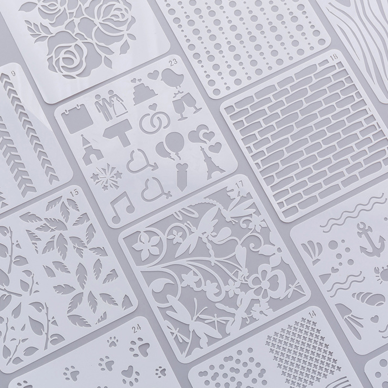 24pcs Stencils For Diy Scrapbooking Small Painting Template Ruler Set Children U0026 39 S Drawing Tools