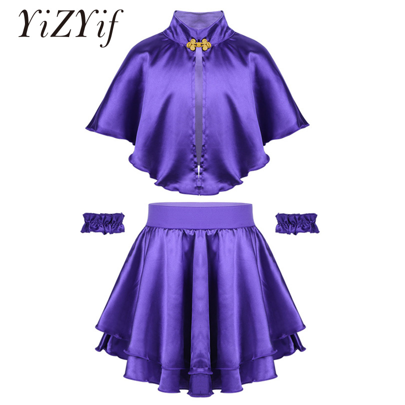 YiZYiF Kids Girls  Cosplay Theatre Musicals Party Greatest Show Costume Outfit Cape with Skirt and Wristband Fancy Dress Set